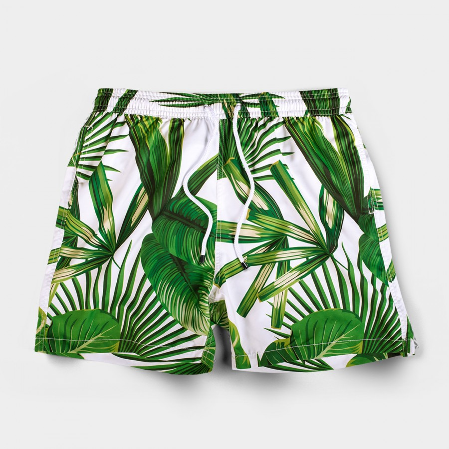 Tropical White Board Shorts