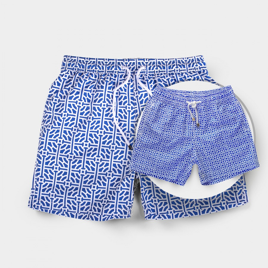 Father & Son Blue Tile Board shorts